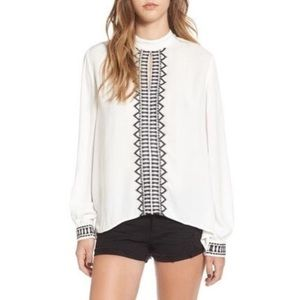 Sun & Shadow White Keyhole Embroidered Top